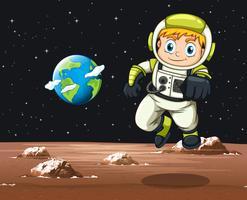 Astronauta voando no espaço vetor