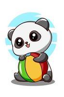 Pequeno panda fofo com bola na ilustração dos desenhos animados das férias de verão vetor