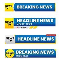 conjunto de terceiro modelo gráfico inferior. banners de tv para notícias. vetor
