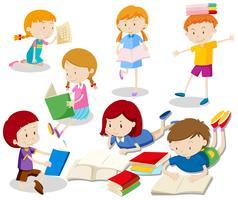 Um conjunto de livro de leitura de crianças vetor