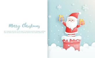 cartão de natal, celebrações com o papai noel fofo vetor