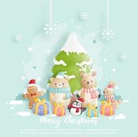 cartão de natal, comemorações com urso, coelho e rena vetor