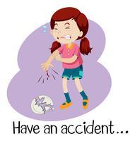 Um, menina jovem, tendo, um, acidente
