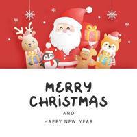 cartão de natal, celebrações com o papai noel e amigos, vetor