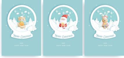 cartão de natal, celebrações com o papai noel e amigos vetor