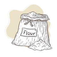 ilustração gravada de bolsa de lona com farinha vetor