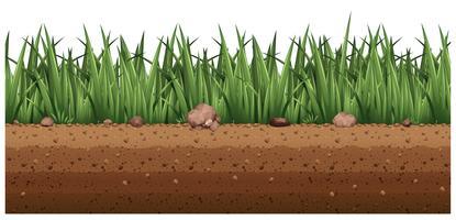Plano de fundo sem emenda com grama no chão vetor