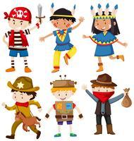 Crianças em trajes diferentes vetor
