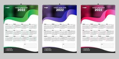 design de modelo de calendário de parede única 2022 com lugar para foto vetor