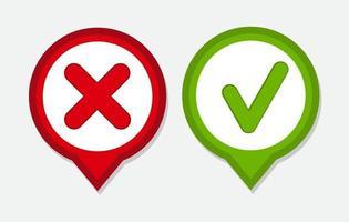 ícones de marca de seleção vermelha e verde do vetor
