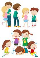 Crianças em diferentes emoções vetor