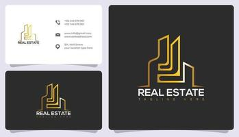 logotipo e cartão de visita de imóveis e arquitetura de luxo vetor