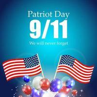 dia do patriota, o rótulo 11-9, nunca esqueceremos vetor