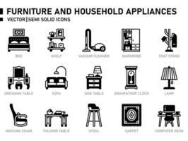 ícone de móveis e eletrodomésticos vetor
