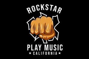 estrela do rock com design de tipografia de ilustração de punho vetor