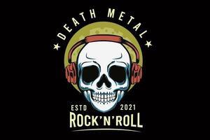 death metal com desenho de ilustração de caveira vetor