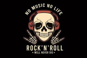 rock and roll bem, nunca morra ilustração t shirt design com crânio vetor