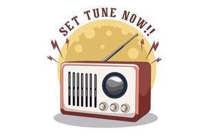 ajuste a sintonia agora ilustração design com rádio vetor
