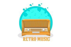 projeto de ilustração de música retrô com rádio antigo vetor