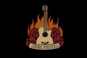 desenho de t-shirt de tipografia musical festival com chamas vetor