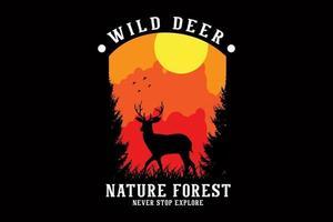 desenho da silhueta da floresta da natureza vetor