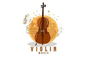 desenho de ilustração de música de violino vetor