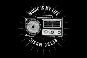 música é minha vida, design de tipografia de música retro com rádio vetor