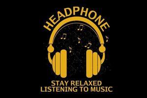 fique relaxado ouvindo música design de silhueta vetor