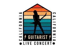 design de silhueta de concerto ao vivo de guitarrista da califórnia vetor