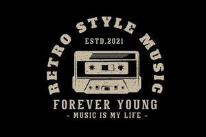 design de tipografia de música estilo retro com cassete vetor