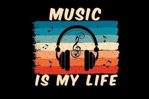 música é minha silhueta de vida com fone de ouvido vetor