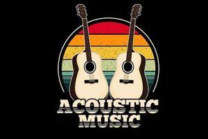 música acústica design retro vintage vetor
