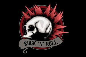 desenho de ilustração rock and roll com caveira vetor