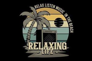 relaxe ouça música no design da silhueta da praia vetor