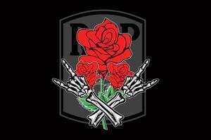 projeto da ilustração da rosa vermelha death metal vetor