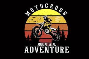 design de silhueta de motocross de aventura de montanha vetor