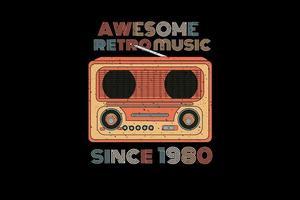 incrível música retrô silhueta design estilo retro vetor