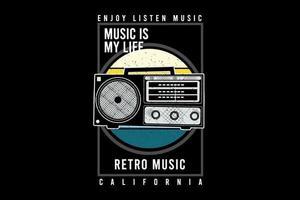 design de tipografia de música retro com rádio vetor