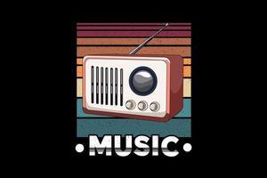 rádio música retro ilustração design estilo retro vetor