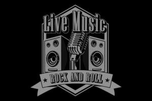 design tipográfico de rock and roll de música ao vivo vetor