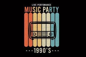 música festa design silhueta estilo retro vetor