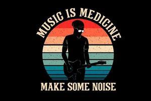 música é medicina faz barulho desenho de silhueta vetor