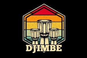 drum africa music vintage retrô camiseta design vetor