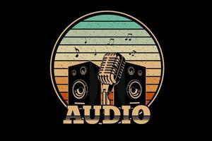 design retro de áudio com fundo retro vetor