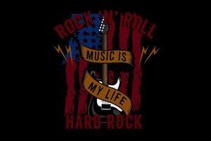 rock and roll music é o design da minha tipografia com bandeira vetor
