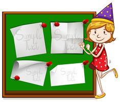 Design de fronteira com garota no chapéu de festa vetor
