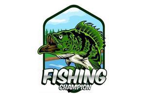 desenho de ilustração de campeão de pesca vetor