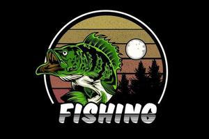 pesca ilustração design estilo retro vetor