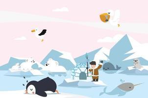 animais pólo norte paisagem ártica vetor