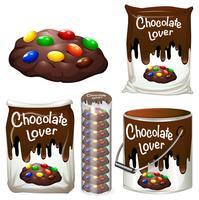 Cookies de chocolate em muitas embalagens vetor